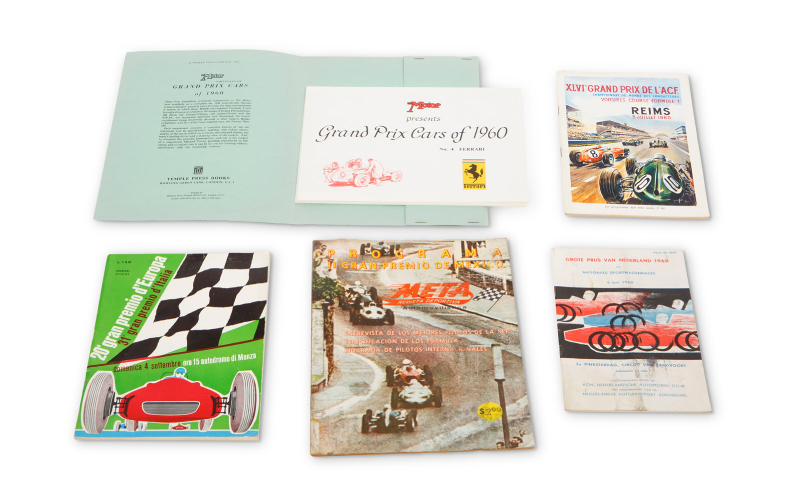 Assorted 1960 Race Programs, Including Monza, Zandvoort, Reims, and Mexico Grand Prix