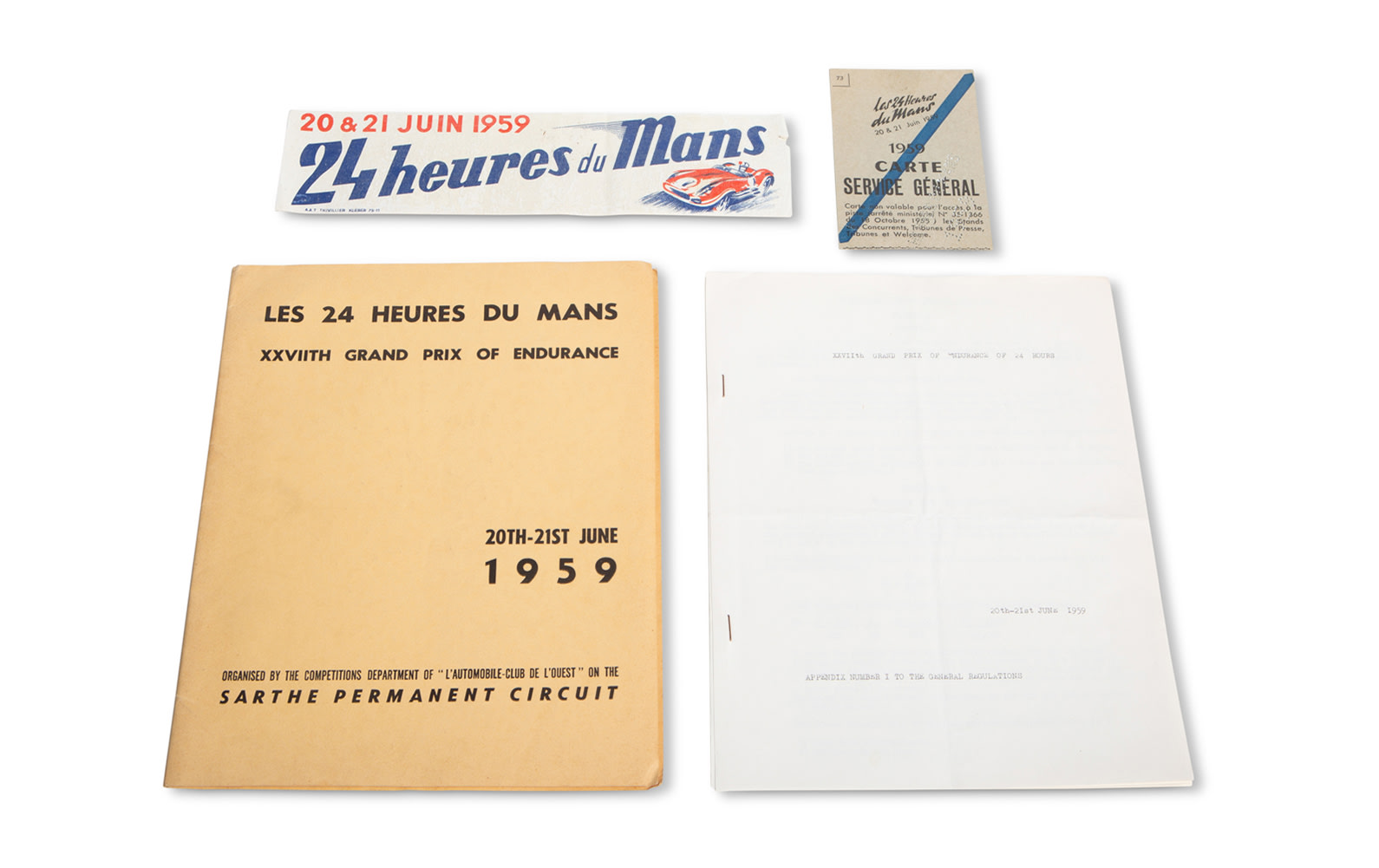 1959 24 Hours of Le Mans Regulations Booklet with Appendix, Pit Pass, and Window Decal