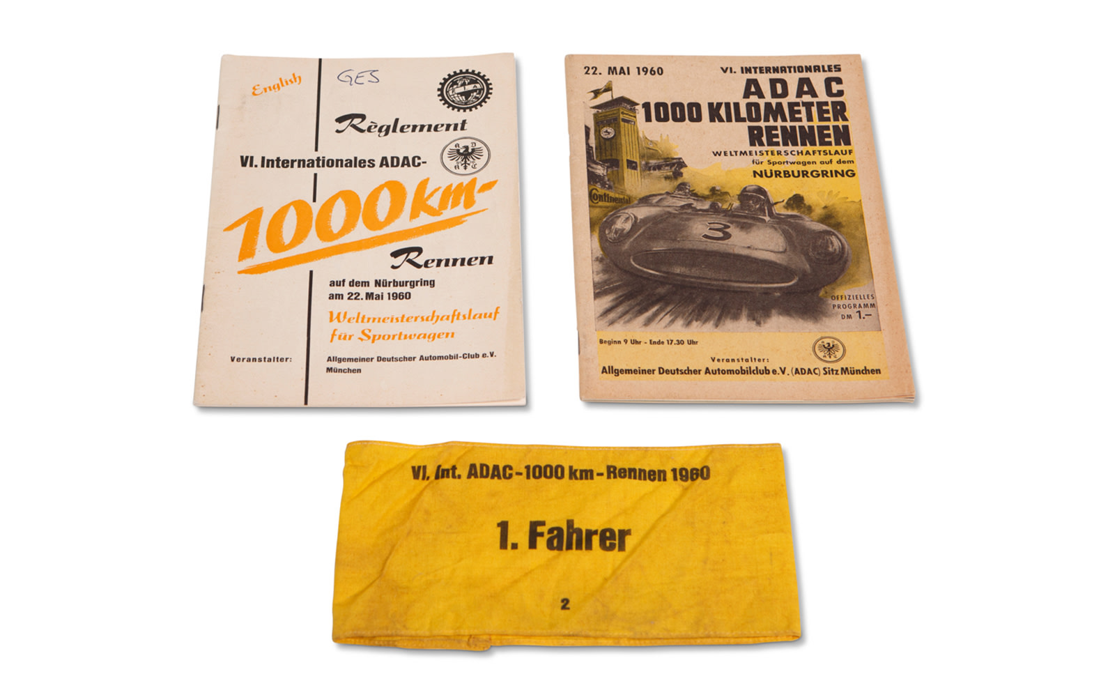 1960 ADAC 1000 Km Nürburgring Official Race Program, Regulations Book, and Armband