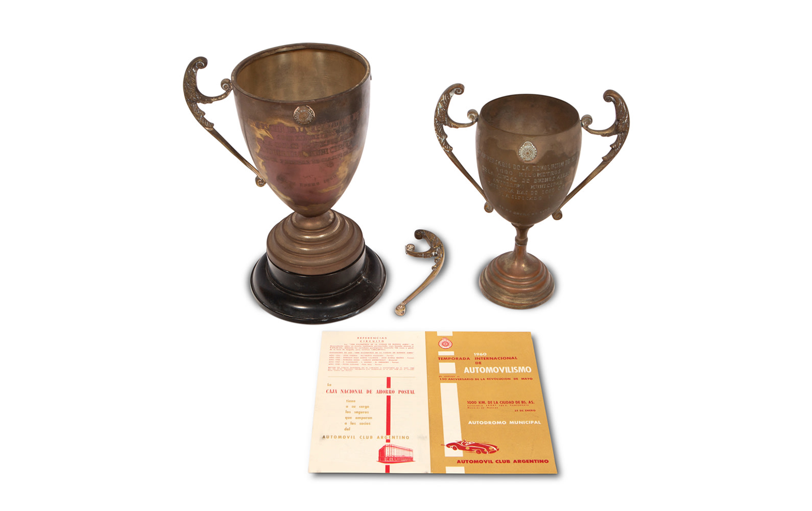 1960 Buenos Aires 1000 Km Entry Form, Two Trophies, and Pin