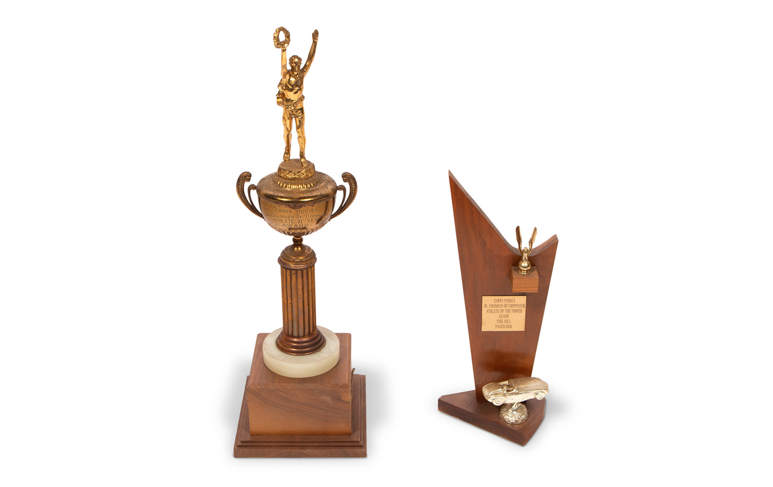 Athlete of the Month and Athlete of the Year Trophies Presented to Phil Hill by the Santa Monica Jr. Chamber of Commerce, 1961
