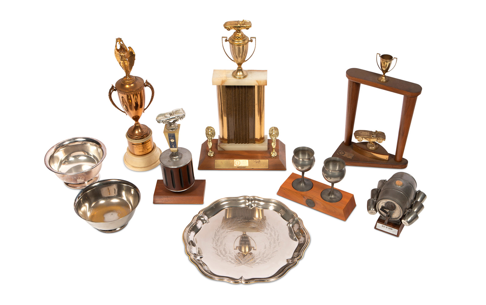 Assorted Trophies Presented to Phil Hill at Concours d'Elegance
