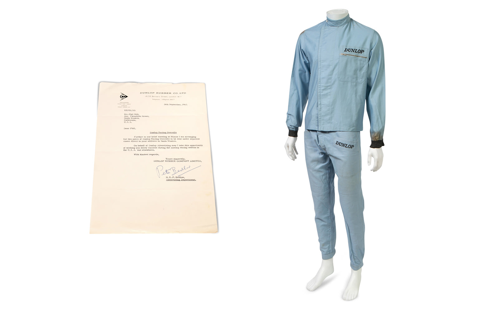 Two-Piece Dunlop Driving Suit Worn by Phil Hill During his Racing Career