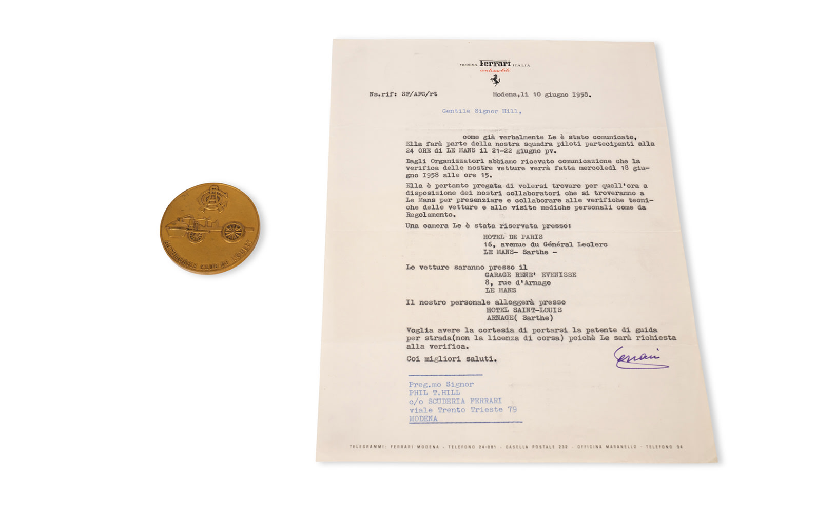1958 24 Hours of Le Mans Pilote Coin and Signed Letter from Enzo Ferrari to Phil Hill, Dated June 10, 1958