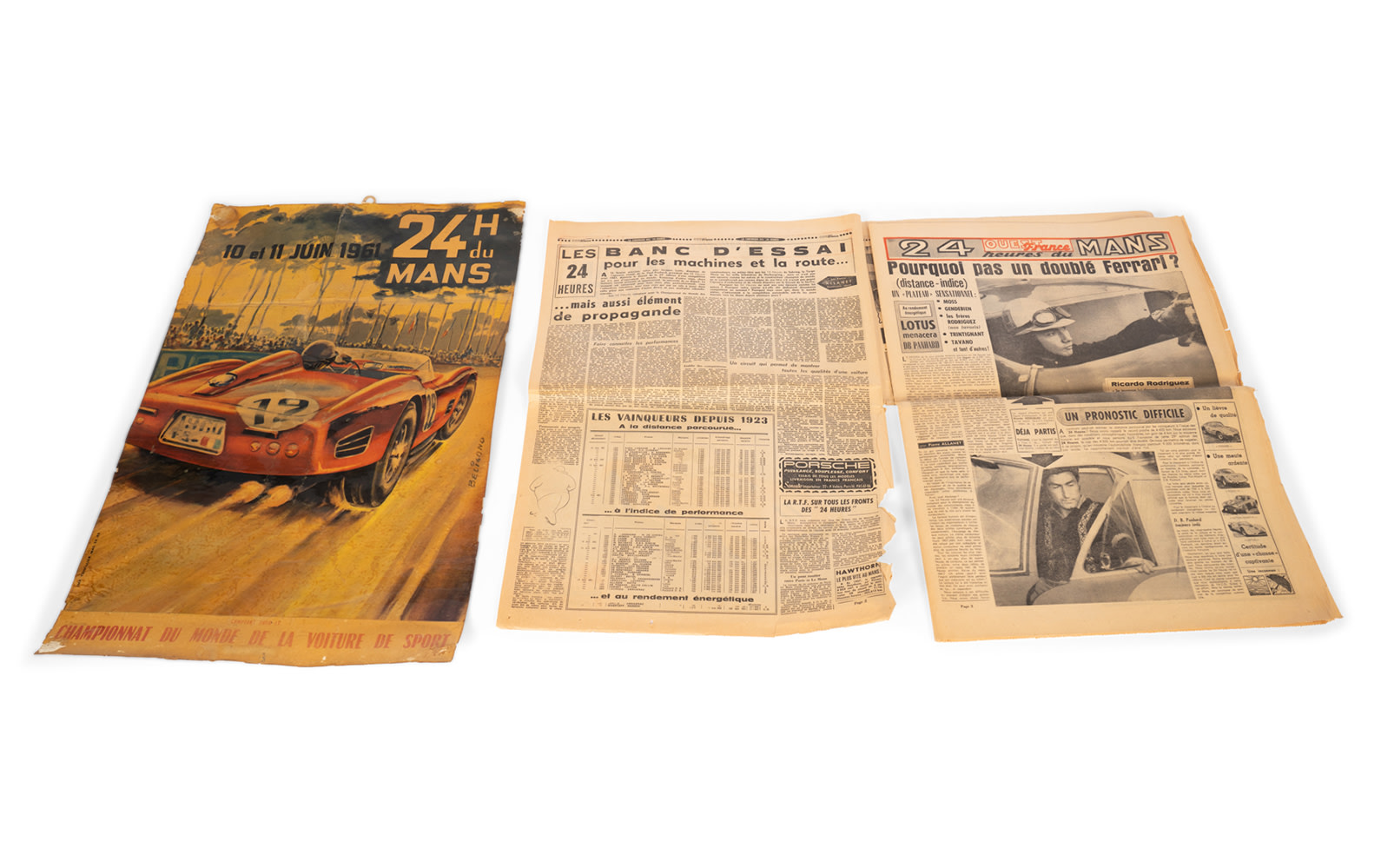 1961 24 Hours of Le Mans Poster and Newspaper.