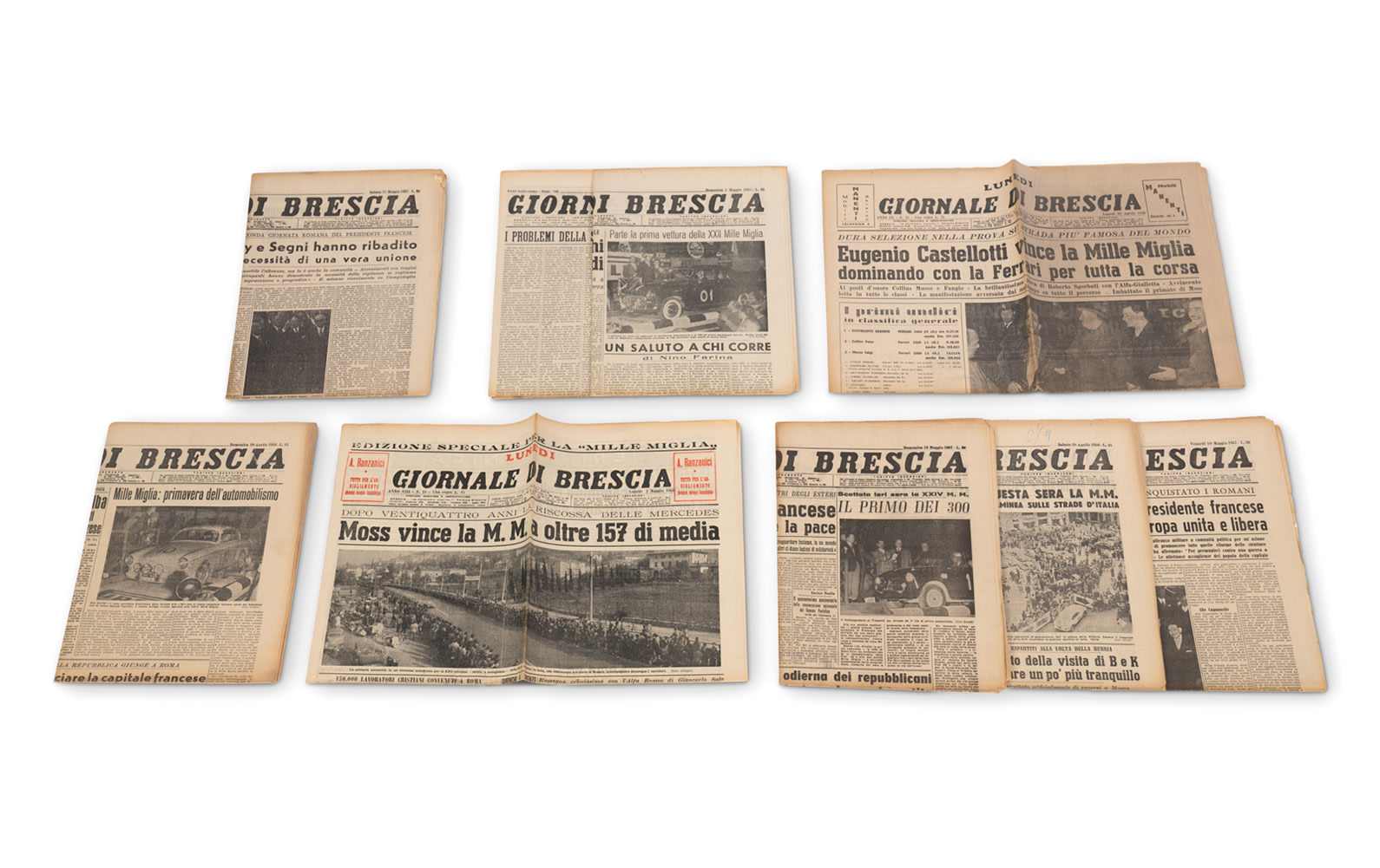 Assorted Giornale Di Brescia Newspapers, c. 1955-1957, Documenting the Running of the Mille Miglia