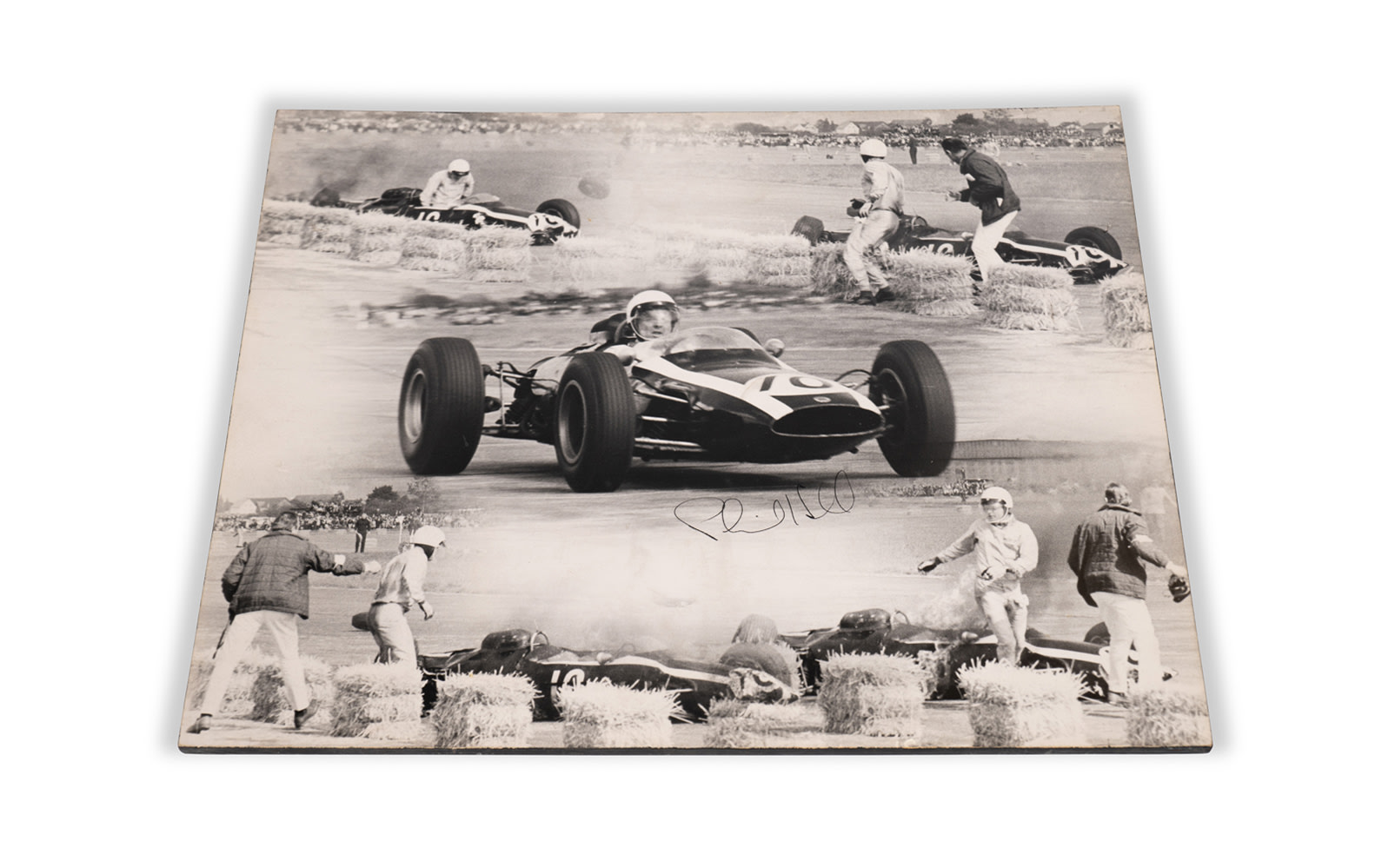 1964 Austrian Grand Prix Photo Montage of Phil Hill's Cooper Accident, Signed