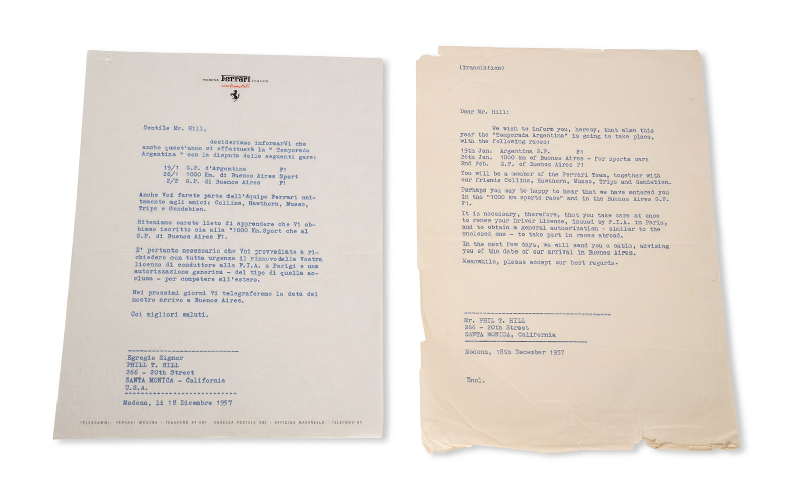 Scuderia Ferrari Engagement Letter for the 1958 Argentina Grand Prix and Buenos Aires 1000 Km Sports Car Race