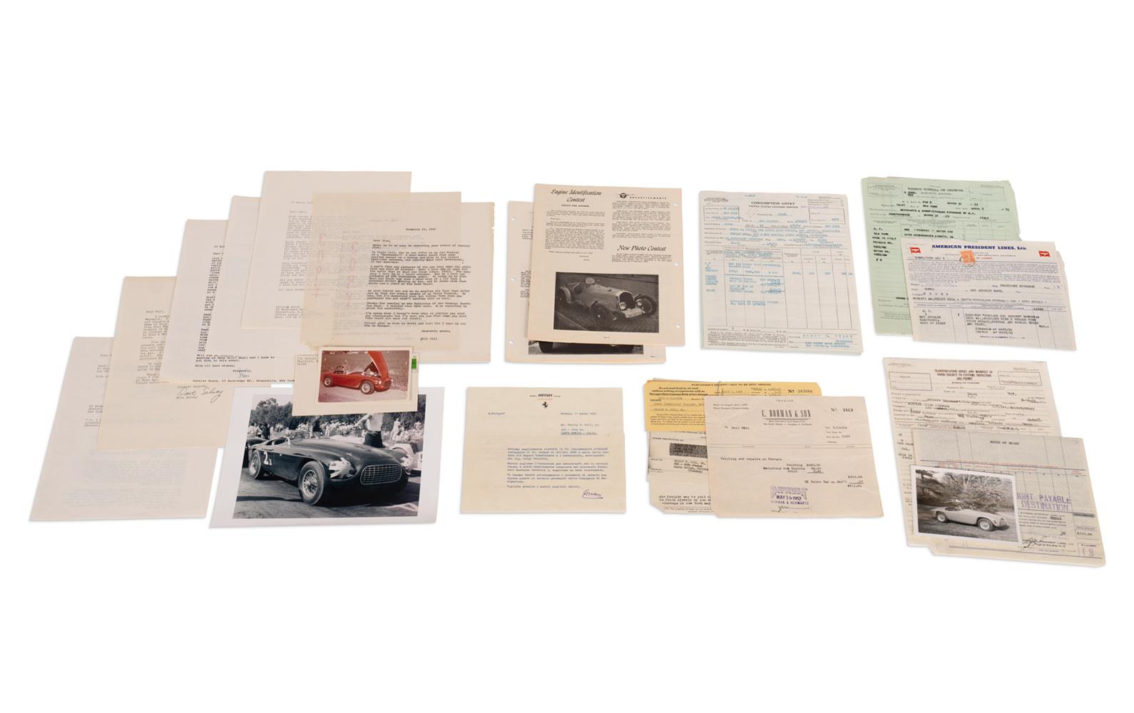 Assorted Correspondence and Files Regarding Phil Hill's Ferrari 212 Export Barchetta, Chassis 0078/E
