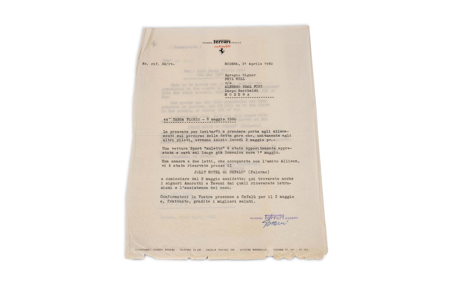 Scuderia Ferrari Engagement Letter to Phil Hill Regarding the 1960 Targa Florio Practice Session