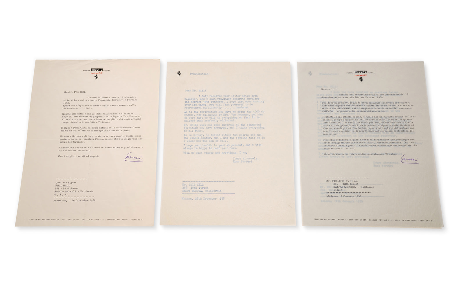 Two Letters from Enzo Ferrari to Phil Hill Regarding the 412 MI Engine