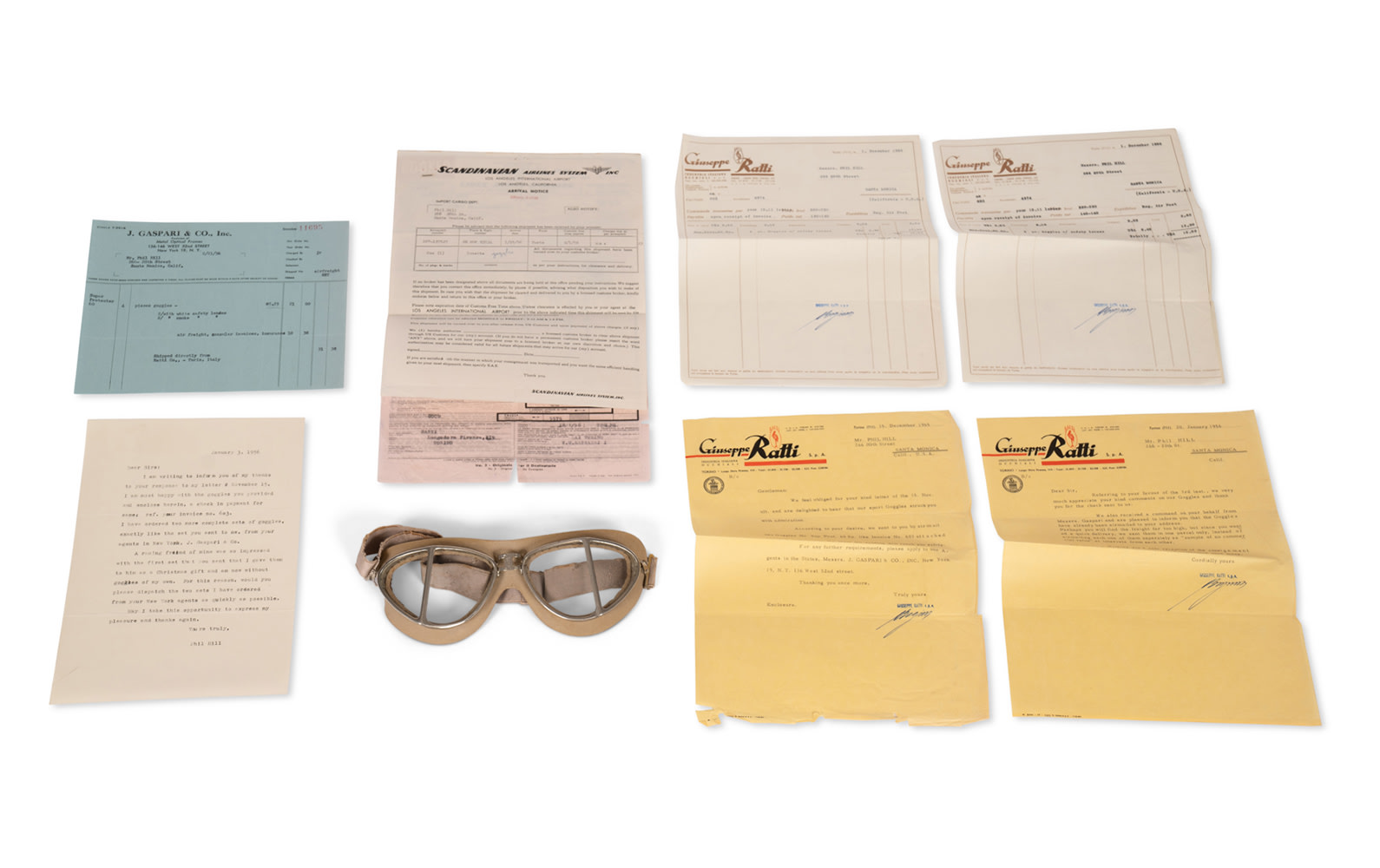 Giuseppi Ratti Racing Goggles with Original Invoice, Shipping Paperwork, and Letter from Phil Hill to Manufacturer