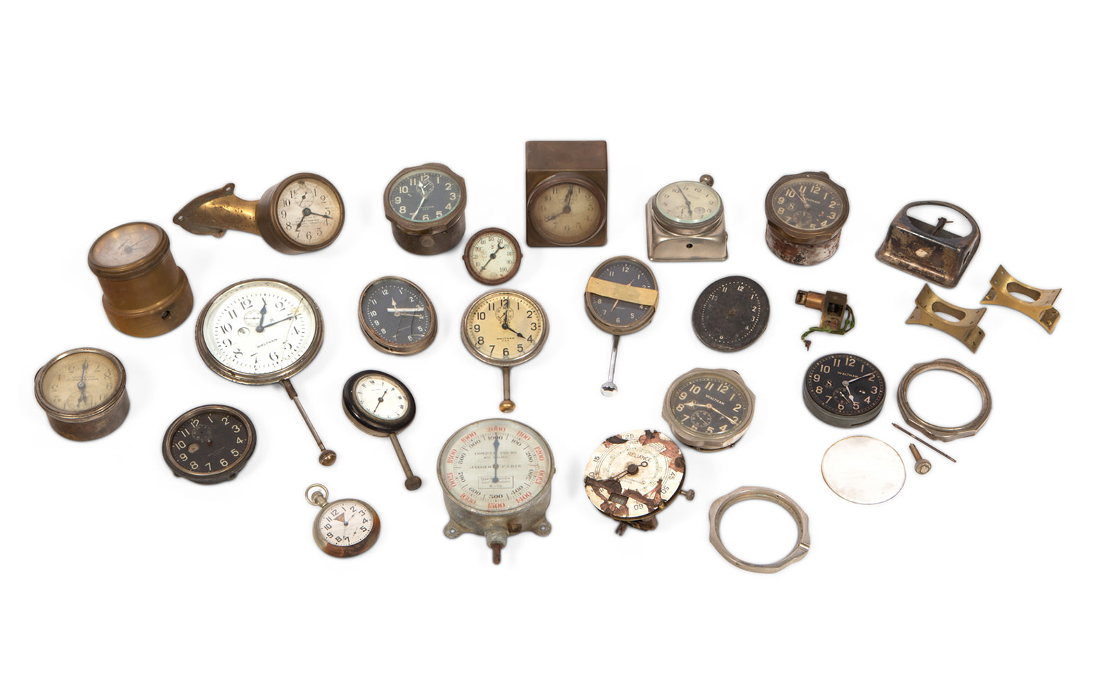 Assorted Motoring Clocks, Including Many by Waltham