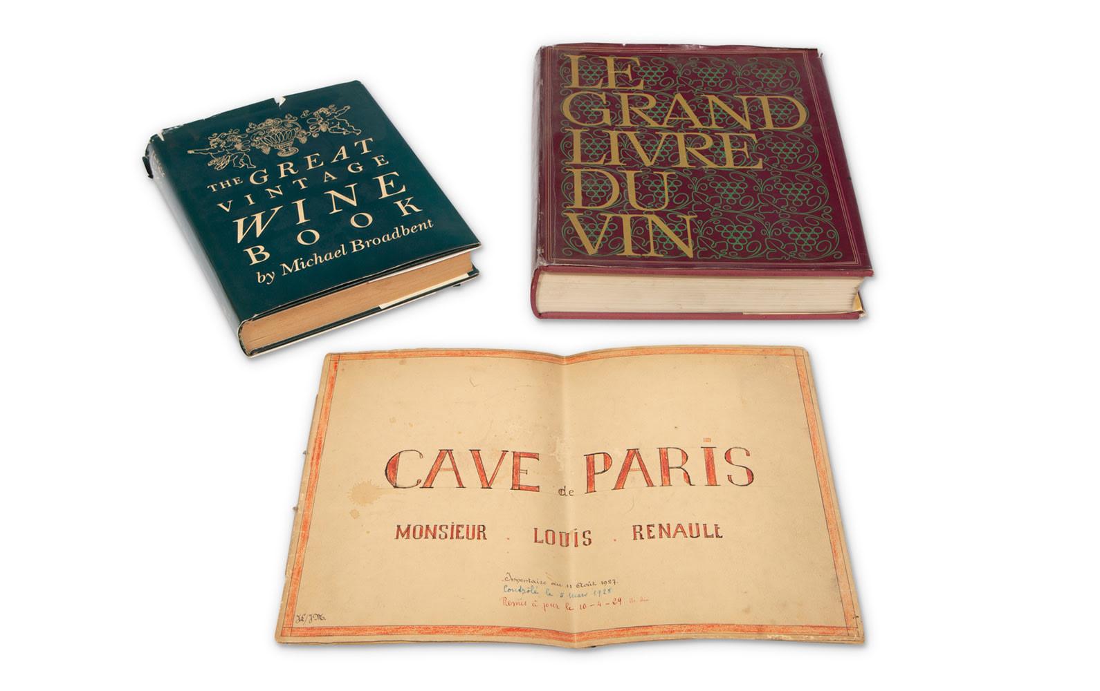 Prod/O21E - Phil Hill C 2021/C0045_The Great Vintage Wine by Michael Broadbent and Le Grand Livre Du Vin Books and a Map of the Cave de Paris Monsieur Louis Renault/C0045_Great_Vintage_Wine_Books_Map_1_pwbeqe