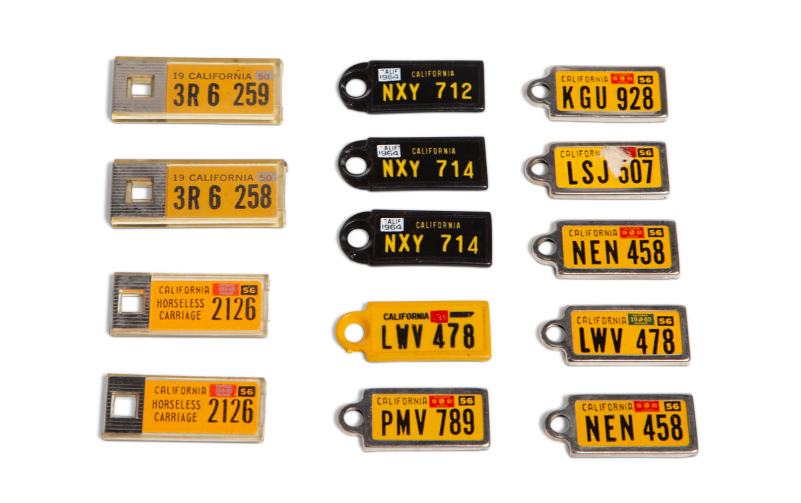 Prod/O21E - Phil Hill C 2021/C0072_California License Plate Keychains, c. 1950-1960/C0072_California_License_Plate_Keychains_1_hfo1mh
