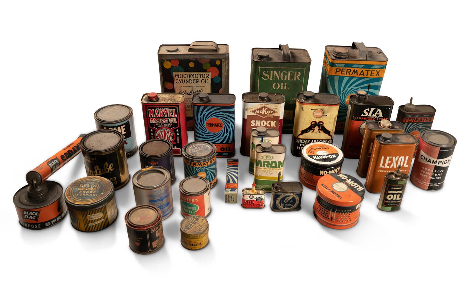 Prod/O21E - Phil Hill C 2021/C0141_Vintage Workshop Supply Containers/C0141_Vintage_Workshop_Supply_Containers_1_hs6zua
