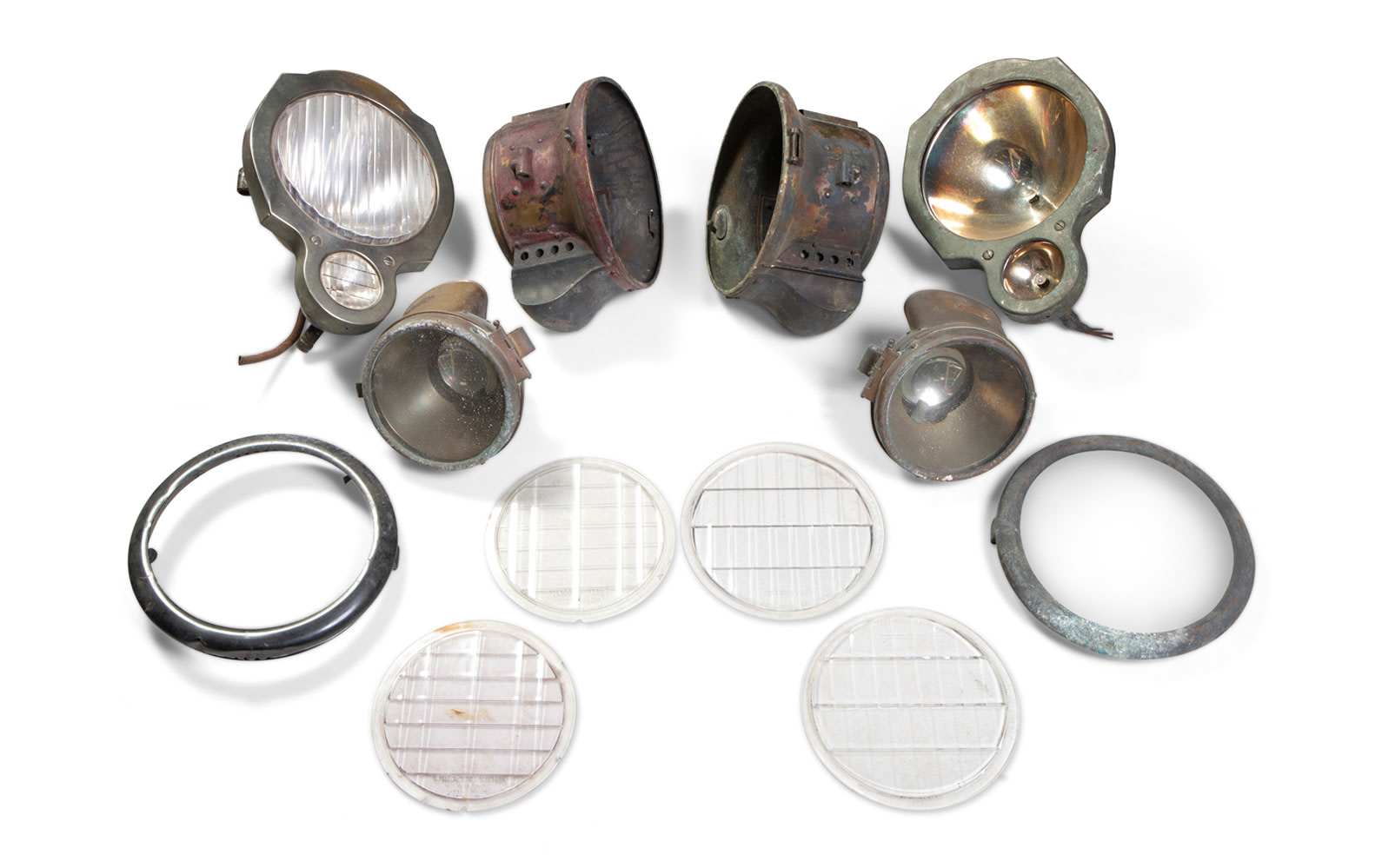 Assorted Pre-1920 Headlamps for Packards as well as Parts from BRC Headlamps