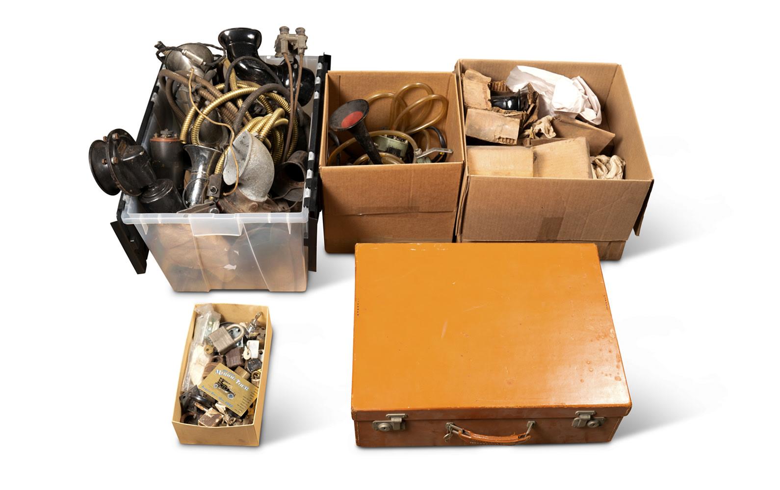 Horns, Radios, Assorted Padlocks, and Men's Grooming Case