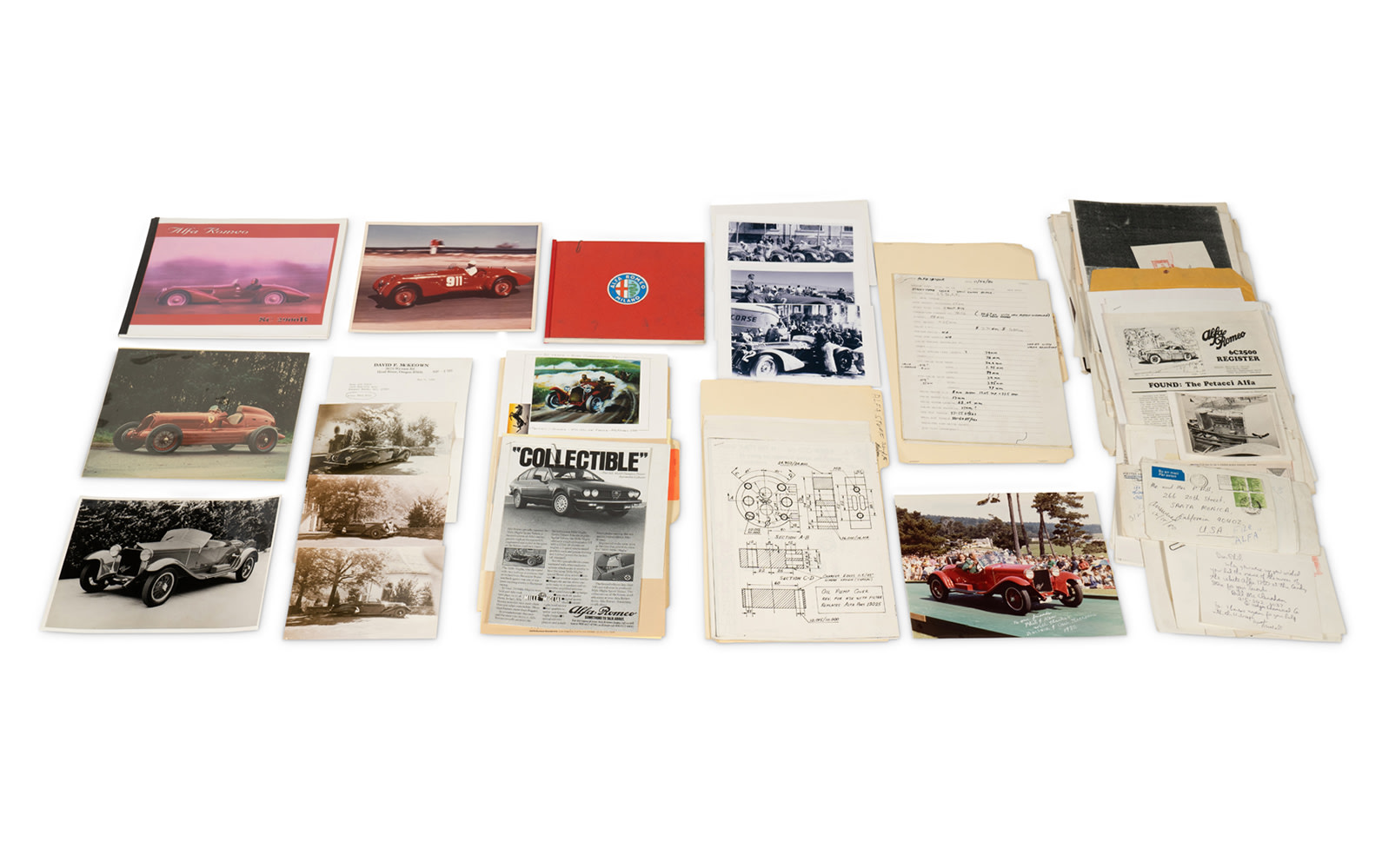 Assorted Photographs, Paperwork, and Files Pertaining to Alfa Romeo