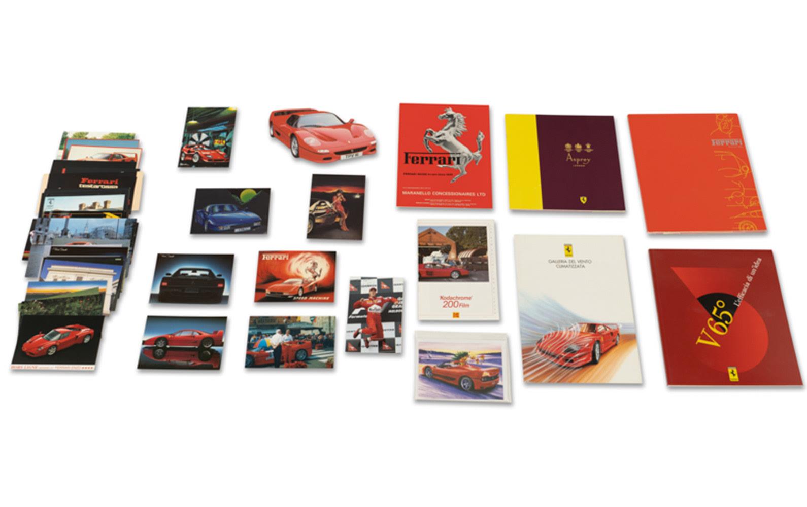 Assorted Ferrari Postcards and Literature, Including Asprey Brochure Featuring Ferrari Branded Items