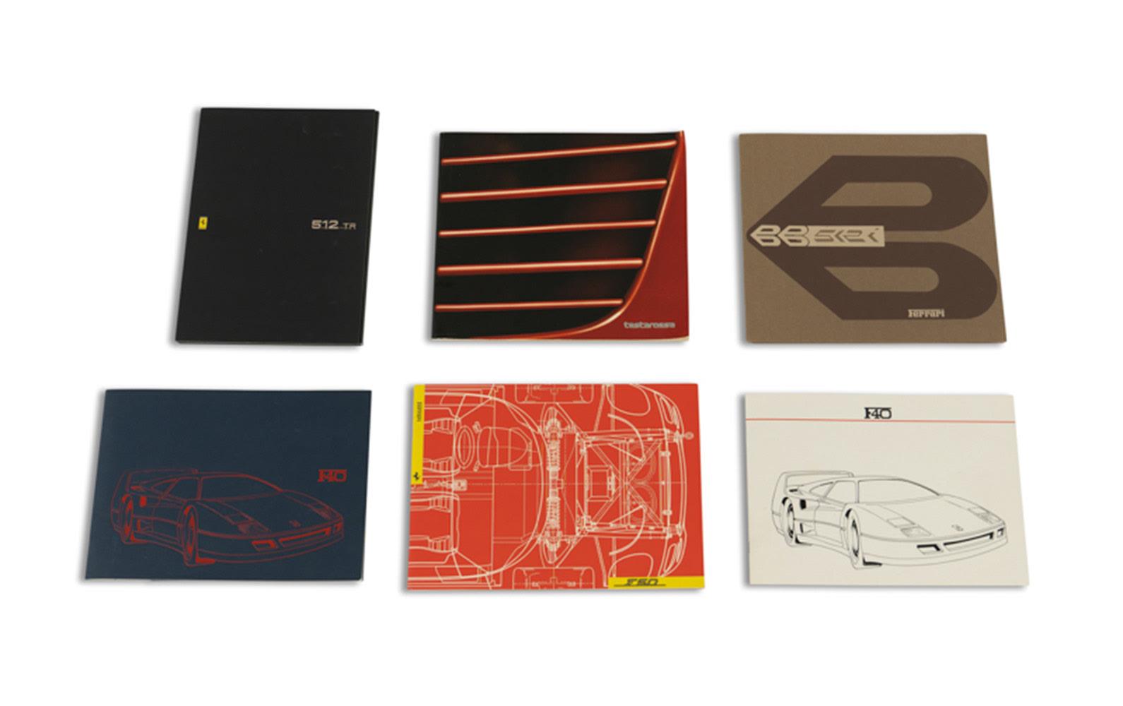 Factory Sales Brochures for Ferrari 512 BBi, 512 TR, F40, F50, and Testarossa