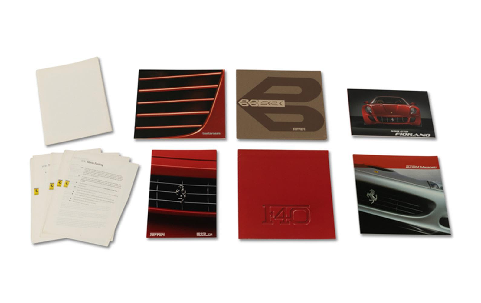 Factory Sales Brochures for Ferrari 512 BBi, Testarossa, F40, 599 GTB, 575 M, and 512 TR