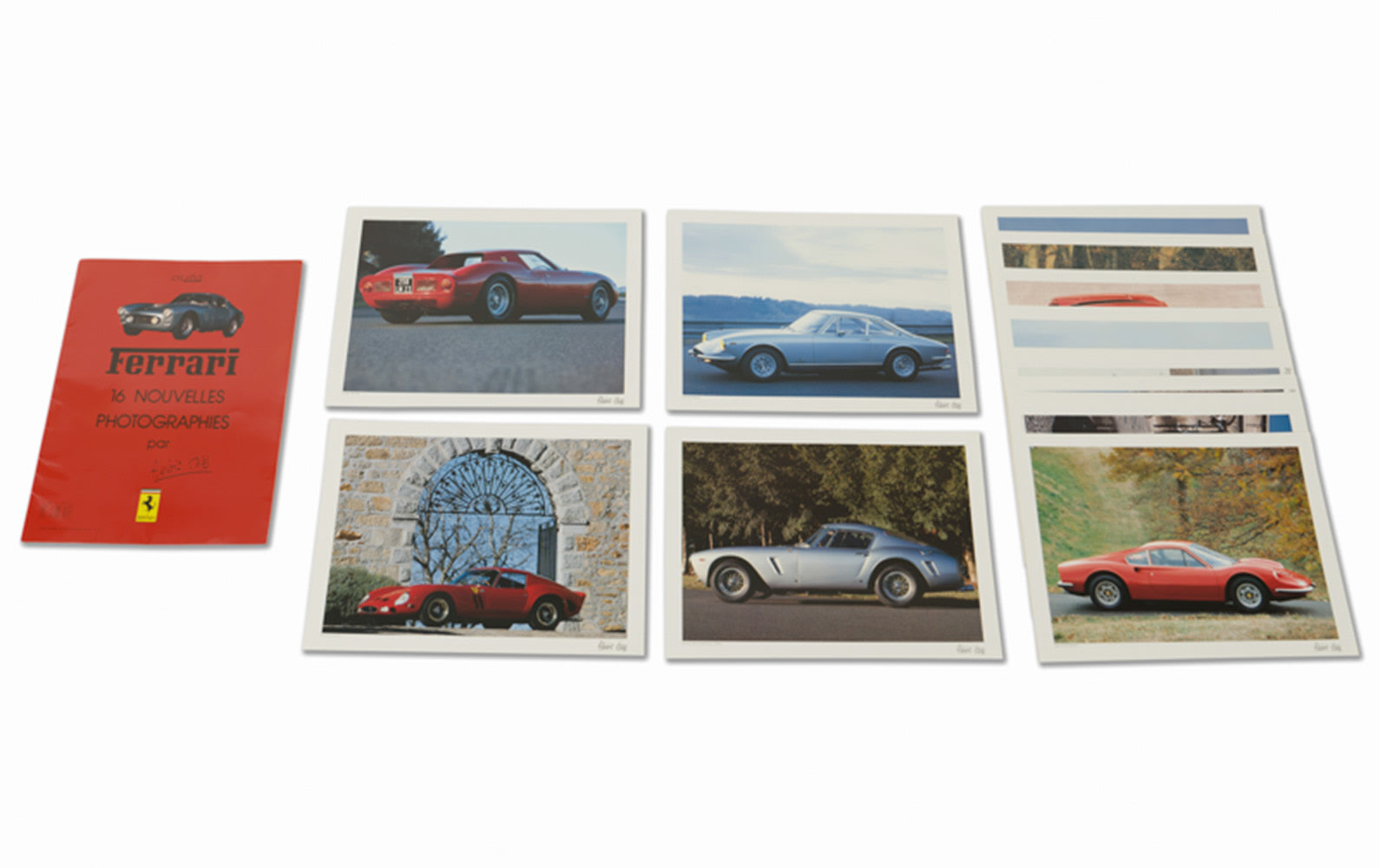 15 Color Photographs of Ferraris by Albéric Haas in Original Folder