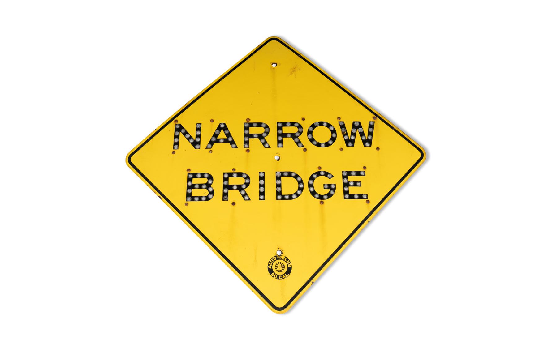 Auto Club of Southern California Narrow Bridge Sign