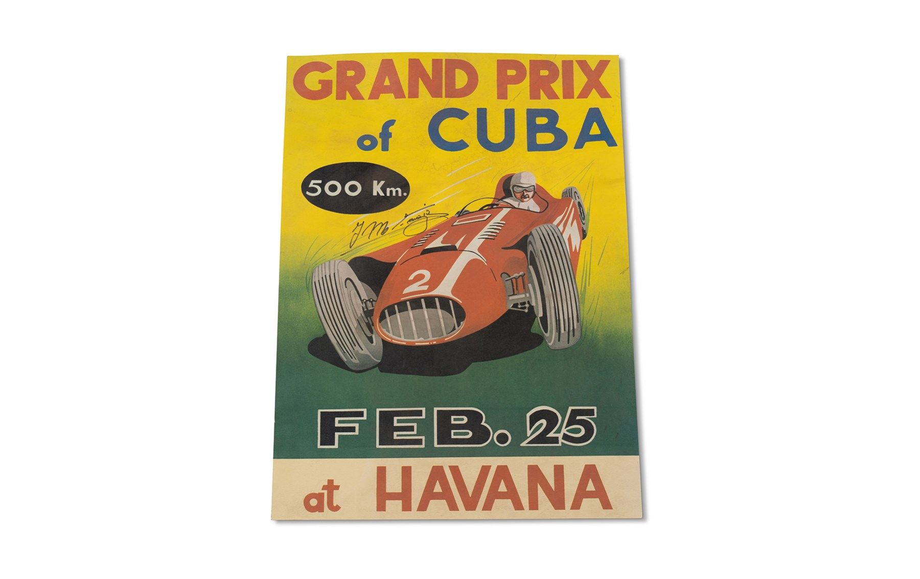 1958 Grand Prix of Cuba Poster, Signed by Juan Manuel Fangio