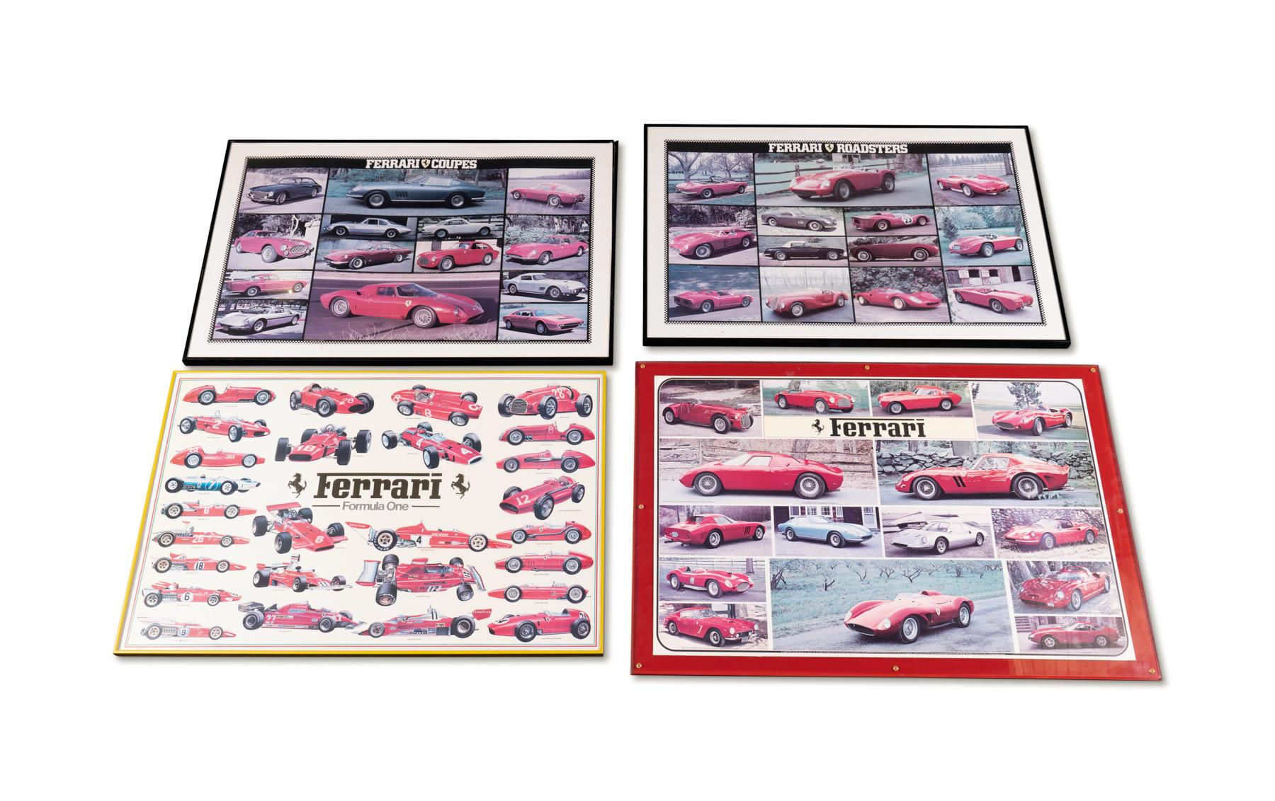 Four Ferrari Posters, Framed