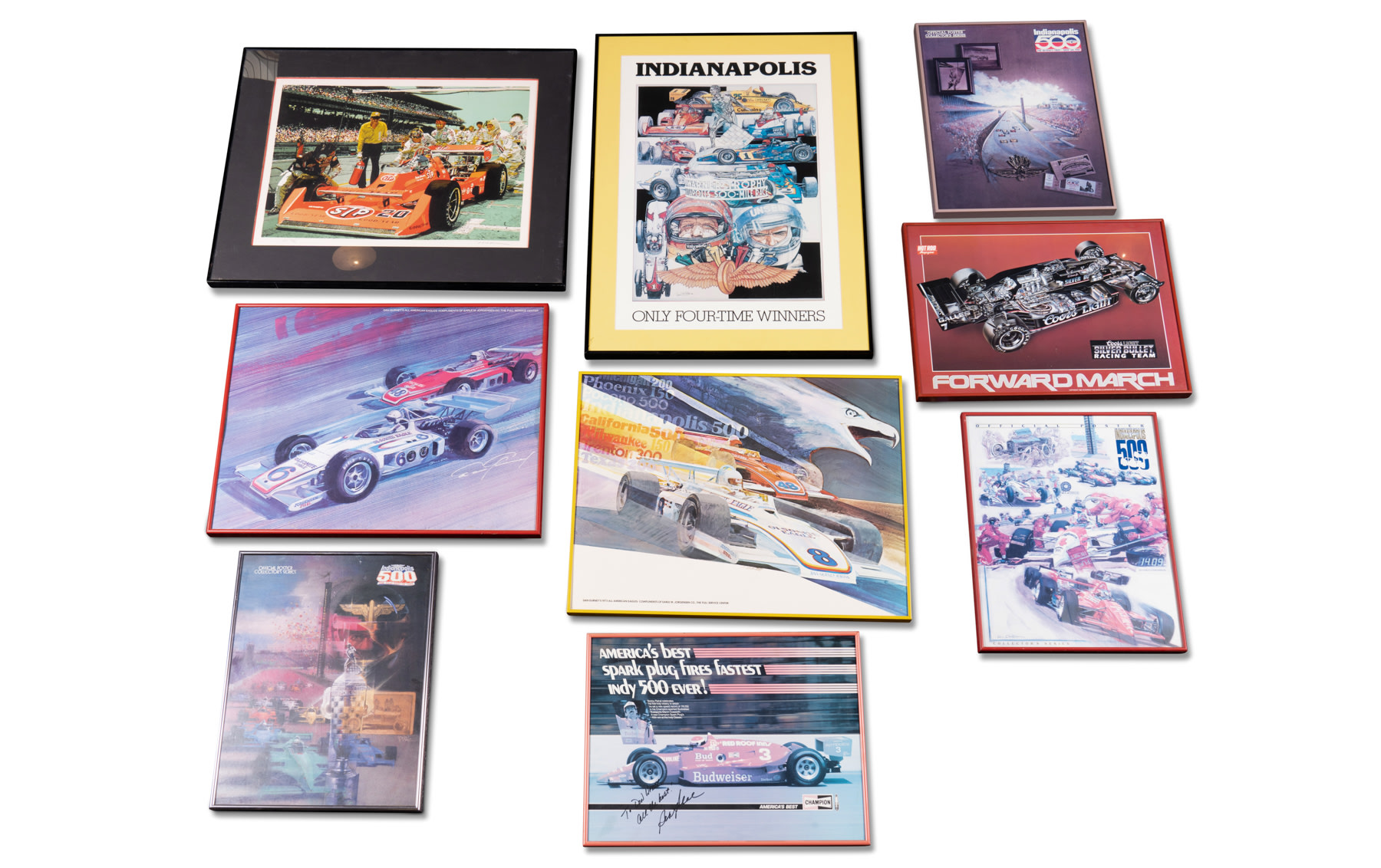 Assorted Indy Car Posters and Prints, Including One Signed to Don Weber by Bobby Rahal