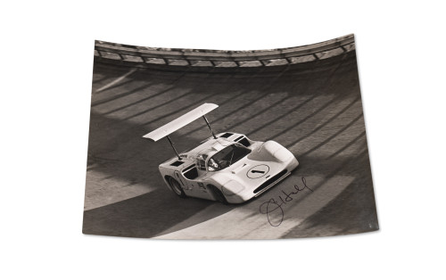 Photograph of the Chaparral 2F at Monza, Signed by Jim Hall